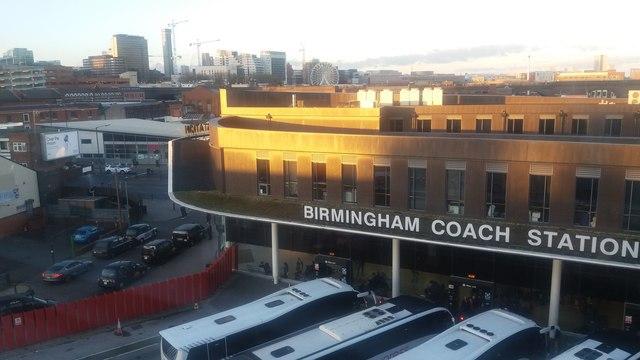 Birmingham Coach Station & City Skyline