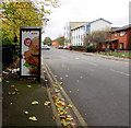 ST3186 : KFC advert on a BT phonebox, Adeline Street, Newport by Jaggery