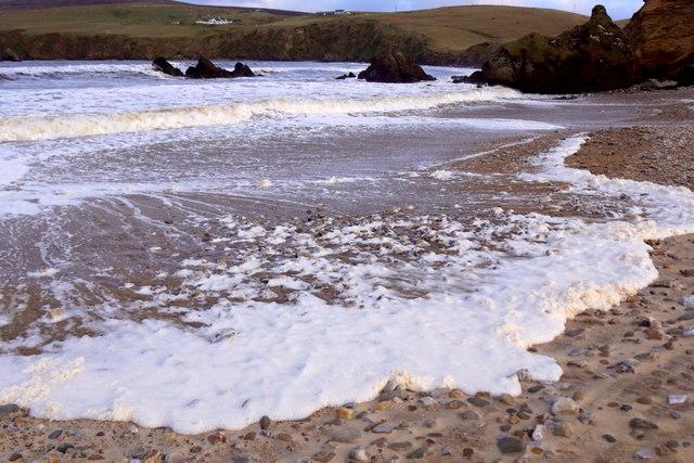 Foamy waves on Burrafirth beach