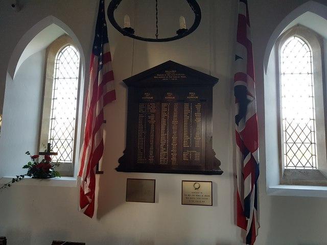 War memorial inside Holton St Peter Church
