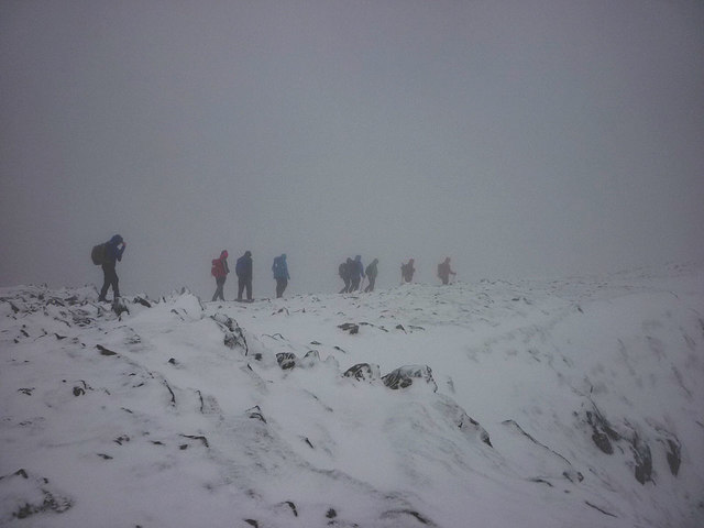 Walkers leaving the summit of the Old Man
