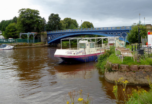 Disused pleasure boat on the River Severn at Stourport