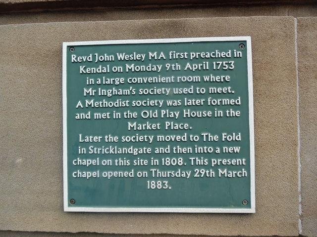Plaque at Stricklandgate Methodist Church, Kendal