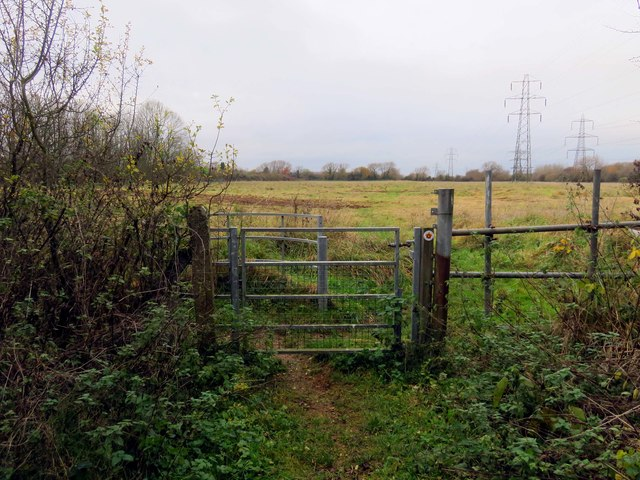 A kissing gate on the footpath