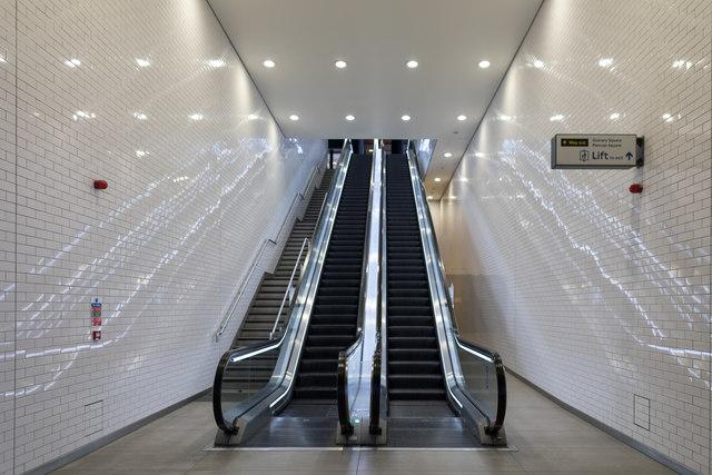 Escalator at King's Cross Station, London