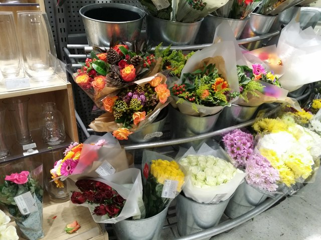 Display of flowers at Waitrose, North Finchley