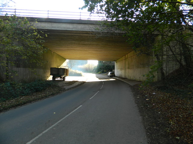 Bridge carrying the M4 over the Miskin to Hensol road