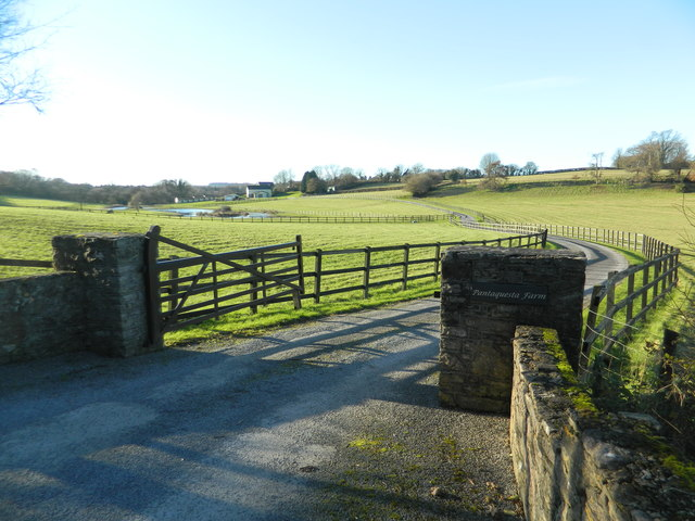 Gate and track to Pantyquesta Farm, Miskin