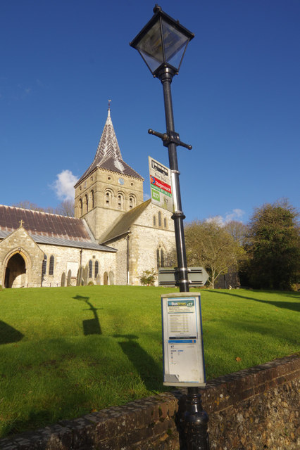 East Meon: bus stop and church
