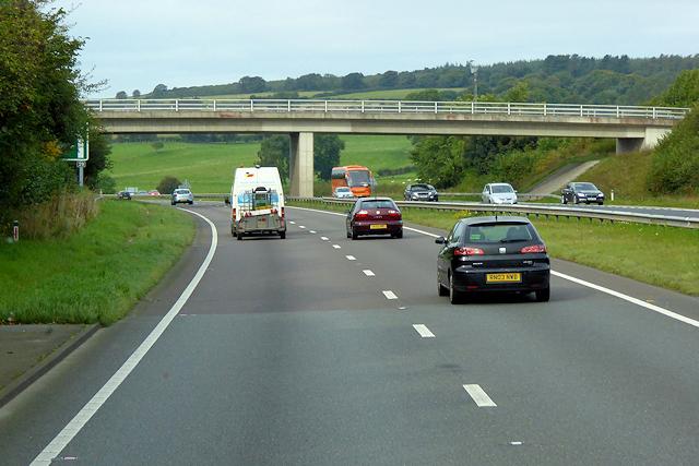 Bridge over the A55 near Pant-y-dulath