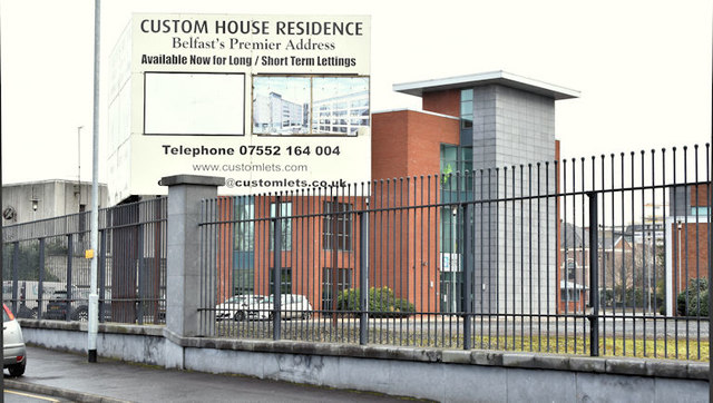 Custom House apartments sign, Belfast (December 2017)