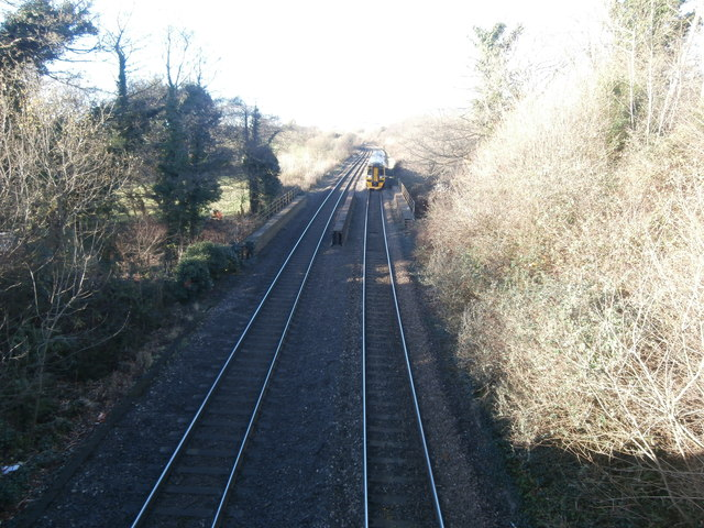 Railway line and east-bound train, Miskin