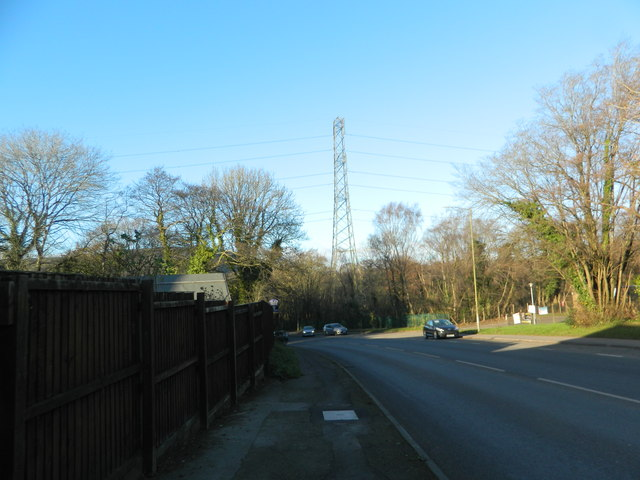 Power lines crossing the A4222, Pontyclun