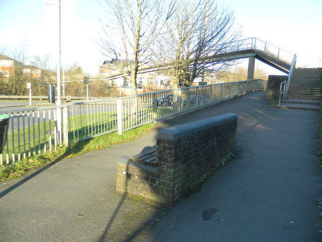 Footbridge over the A473 at its junction with the A4222