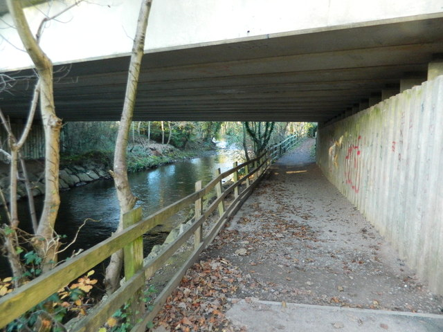 Footpath under the A473, beside the  River Ely