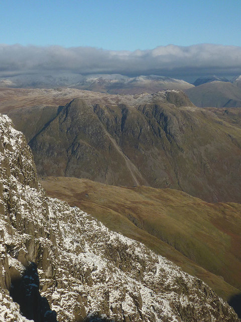 The Langdale Pikes from Long Top, Crinkle Crags
