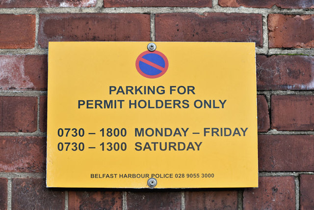 Parking permit sign, Sydenham Road, Belfast (December 2017)