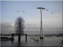 TQ3980 : Wading structures, North Greenwich by Richard Vince