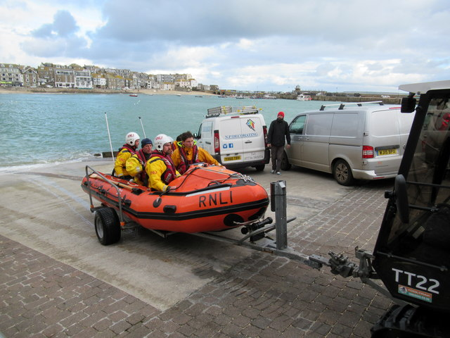 St Ives Lifeboat Crew Returning to Station