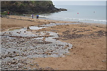 SX4950 : Stream on Bovisand Bay Beach by N Chadwick