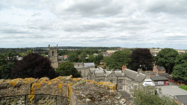 Ashby de la Zouch Castle - On Great Tower with view to St Helen's Church