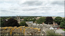SK3616 : Ashby de la Zouch Castle - On Great Tower with view to St Helen's Church by Colin Park
