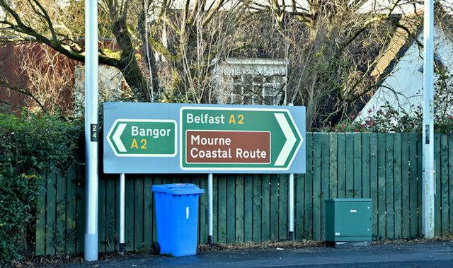 Direction signs, Ballyrobert near Bangor (December 2017)