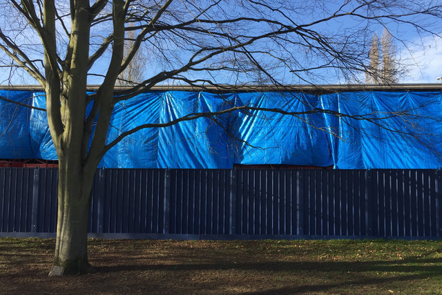 The swimming pool is being refurbished, St Nicholas Park, Warwick