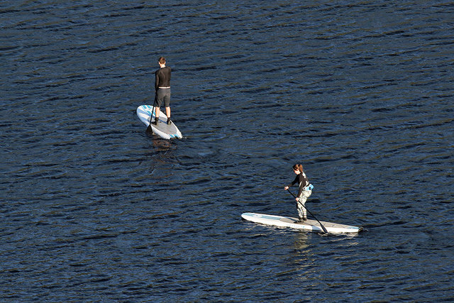 Paddle boarding at Loch of the Lowes