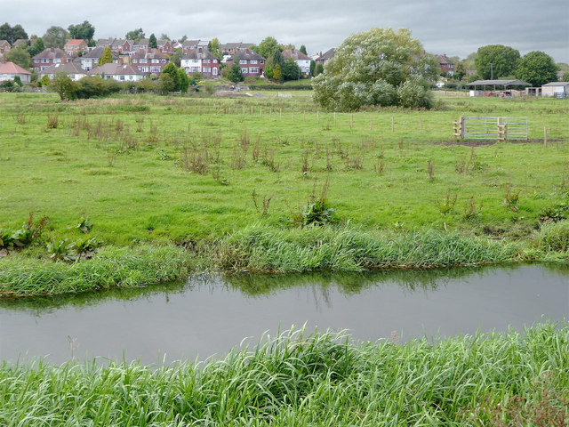 The River Penk  and flood plain near Baswich, Stafford