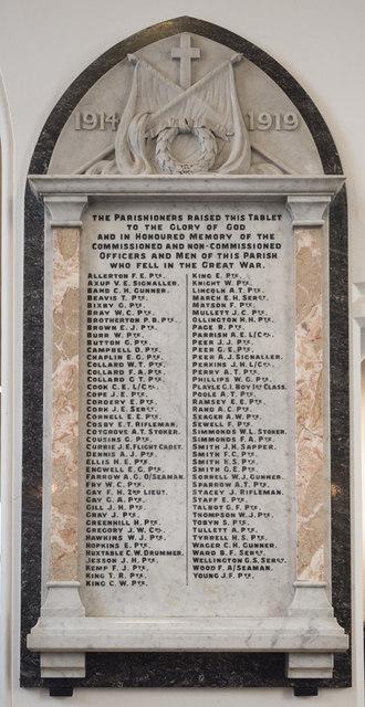 St Peter & St Paul, Church Lane, Dagenham - War Memorial WWI