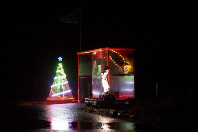 Christmas lights at Bobby's bus shelter, Baltasound