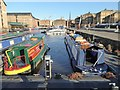 SO8218 : Narrowboats in Victoria Dock by Philip Halling