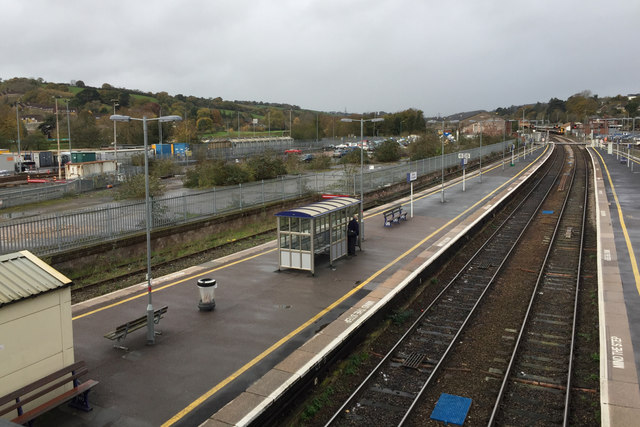 The view north from the north footbridge, Exeter St David's station