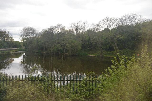 Lake north of Tiverton Parkway Station