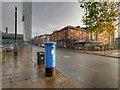 SJ8397 : Blue Post Box on Liverpool Road by David Dixon