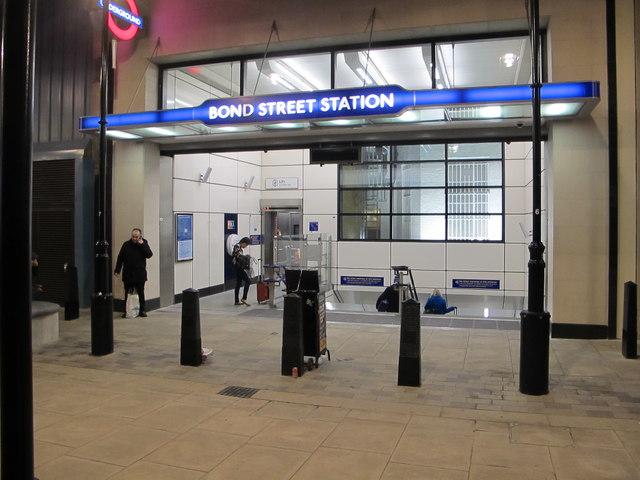 Marylebone Lane entrance, Bond Street station, with lift