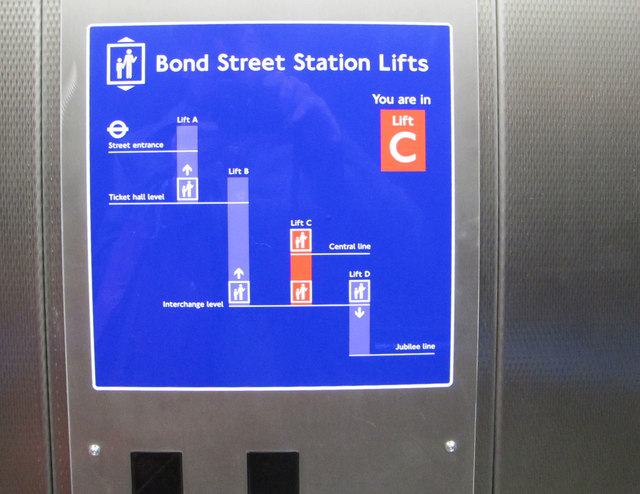 Lifts diagram, Bond Street station step-free access