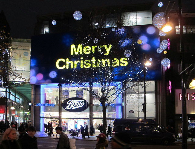 Boots, Oxford Street, with Christmas lights