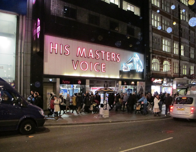 His Master's Voice (HMV) Oxford Street - with lights