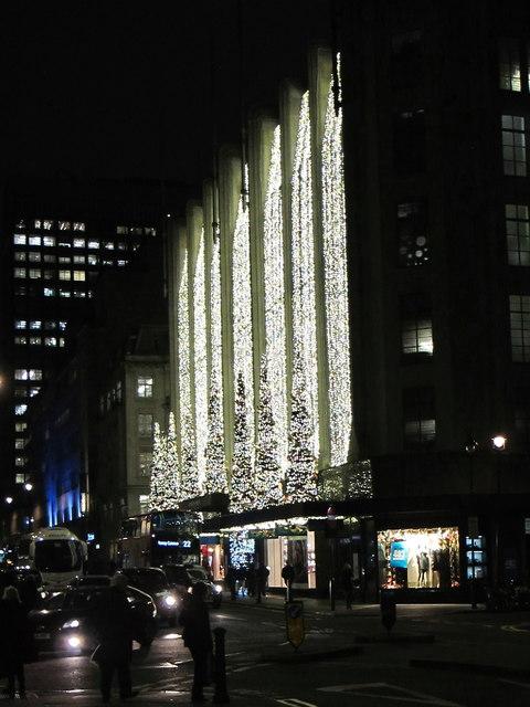 Christmas lights, House of Fraser, Henrietta Street facade
