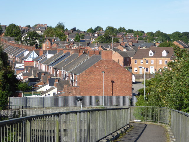 Chesterfield houses from the foot bridge