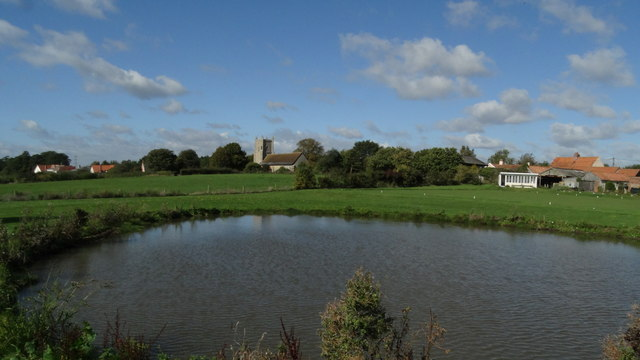 Friston, Suffolk - St Mary the Virgin Church as seen across pond