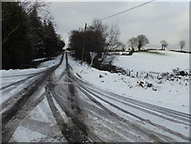 H4277 : Snow and ice, Connaghty Road by Kenneth  Allen