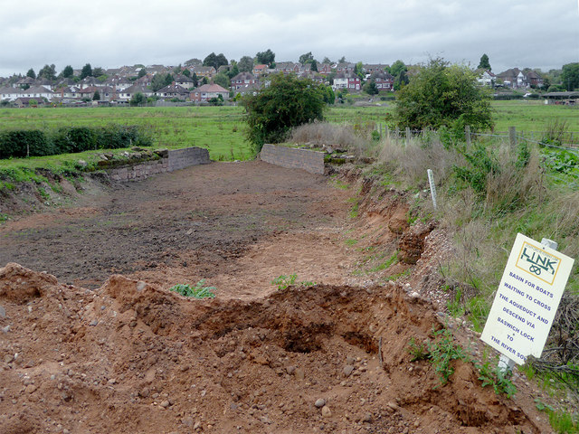 Stafford Riverway Link excavations near Baswich