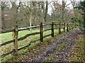 SJ8383 : Rustic fence in the Bollin Valley by Graham Hogg