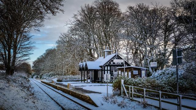 Dunrobin Castle Station in winter garb