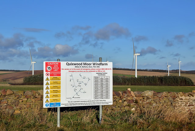 A sign at Quixwood Moor Windfarm site entrance