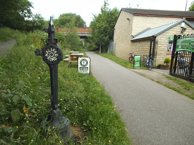 Halifax Road marker on the Spen Valley Greenway by Stephen Craven
