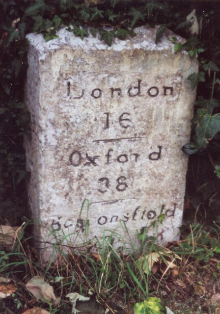 Old Milestone by the A4020, Milestone Cottage - Left stone